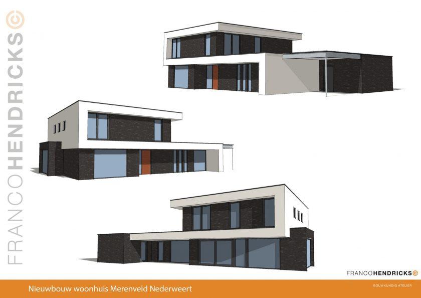 Ontwerp kubistische nieuwbouw woning Merenveld Nederweert